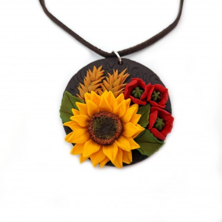 Colier fimo Sunflower