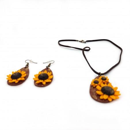 Set bijuterii fimo Sunflowers